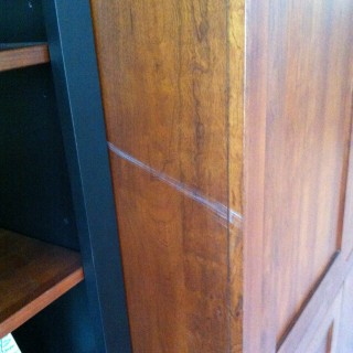 Cabinet scratch repair- before